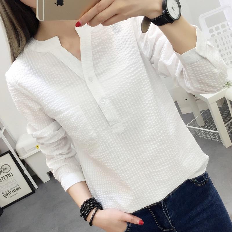 Women Blouses Shirt Female 2018 New Autumn Cotton Linen casual striped Long Sleeve Shirt Women Tops Ladies Clothing S-XL blusas