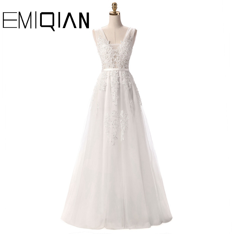 V Neck Wedding Dresses White Floor Length Applique Open Back Sleeveless A Line Backless Bridal Dress Vestido De Noiva