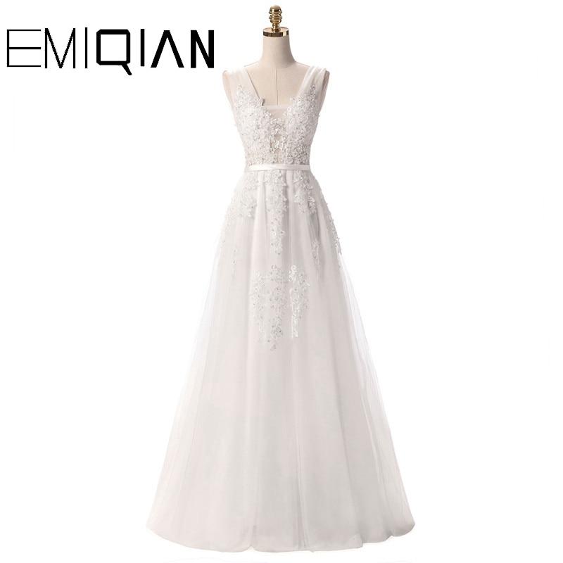 V Neck Wedding Dresses White Floor Length Applique Open Back Sleeveless A Line Backless Bridal Dress Vestido De Noiva