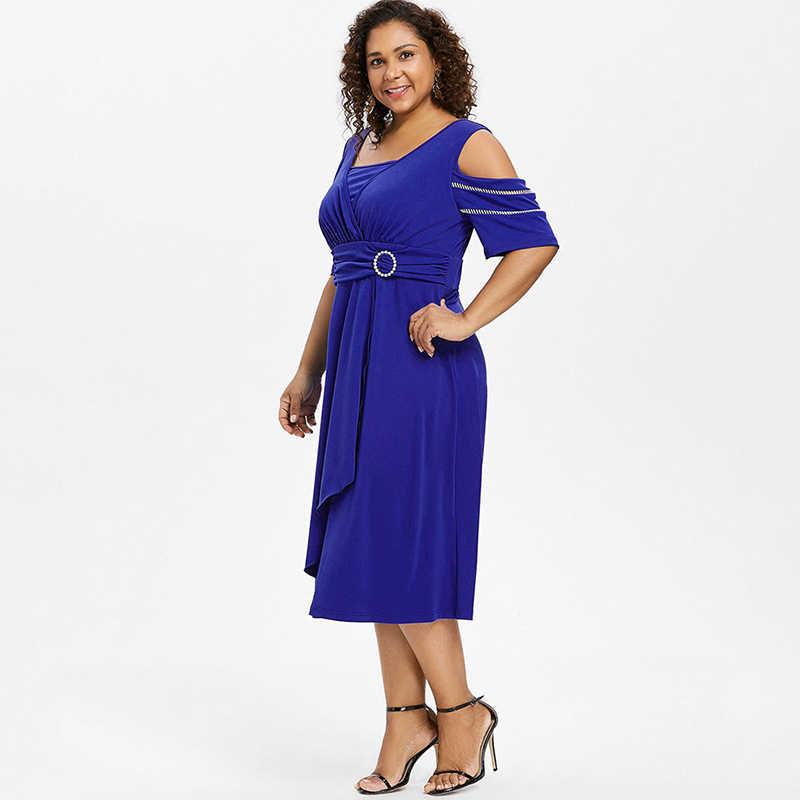 bb795527bd PlusMiss Plus Size Vintage Retro Cold Shoulder Midi Dress 5XL Women  Clothing Big Size Party Dresses Ladies Blue XXXXL XXXL XXL