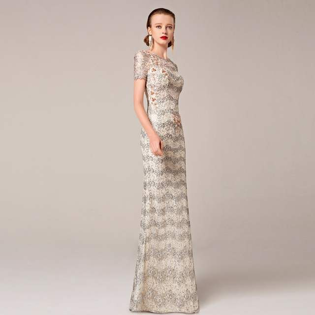 4a61b07e77b placeholder 2016 Coniefox New Styles Embroidery Flower Sequins Net Beige  Prom Evening Long Gown Special Occasion Dress