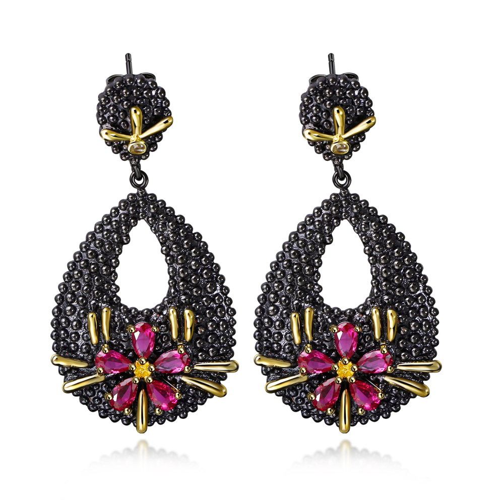 Make Yourself Unique! Eyecatching Black Gold Plated Earrings Wonderful  Incredible Obsessional Design And Quality Large Earrings