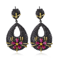 Obsessional Large earrings Make yourself unique! Eye-catching Black gold plated earrings Wonderful Incredible