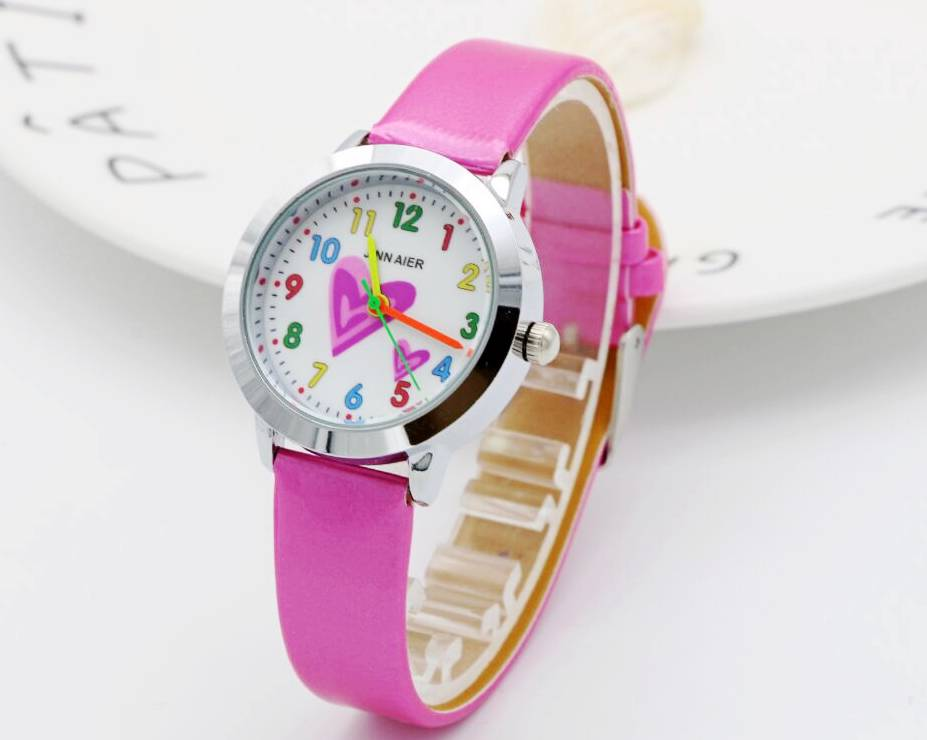 2018 Little Girls Love Dial Quartz Watch High Quality Kids Casual Leather Dress Watch Child Dress Gift El Reloj Clock Children's Watches