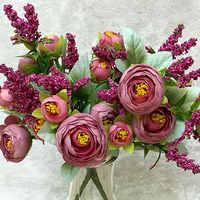 Rosa 1 ramo 10 cabezas boda Mini ramo de Flores artificiales de seda Flores novia hogar boda decoración falsa peonía flor