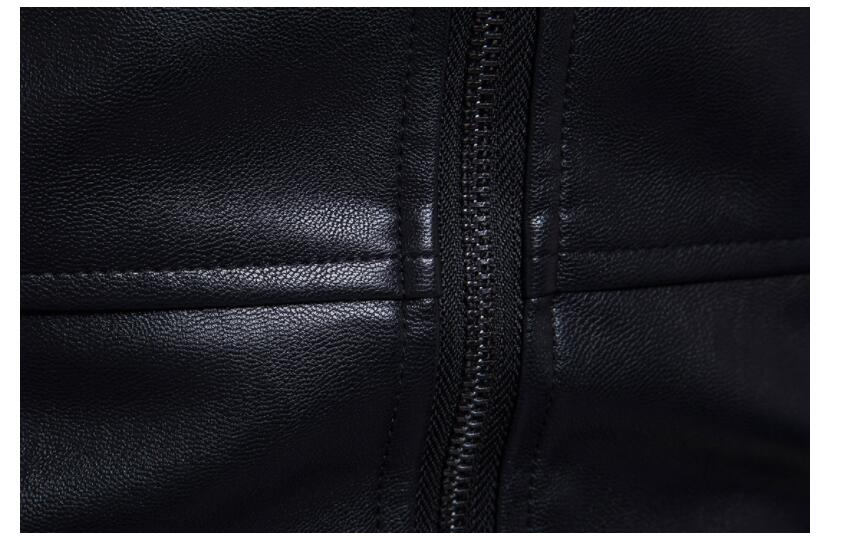 Vestes en cuir pour hommes, veste en cuir pour hommes manteau en cuir pour moto mince vêtements pour hommes stage personnalisé mode street noir - 5
