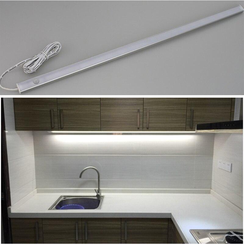 Détecteur de mouvement LED sous meuble lumière 12 V LED s bande cuisine lumières chambre lampe dans le placard armoire lampes placard éclairage