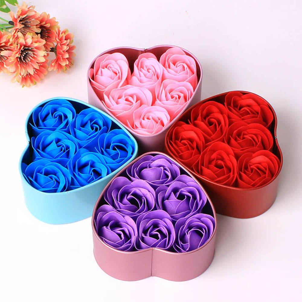 6Pcs Rose Flower Soap Heart Scented Bath Body Petal Rose Flower Soap Wedding Decoration Gift Best For Lovers #20