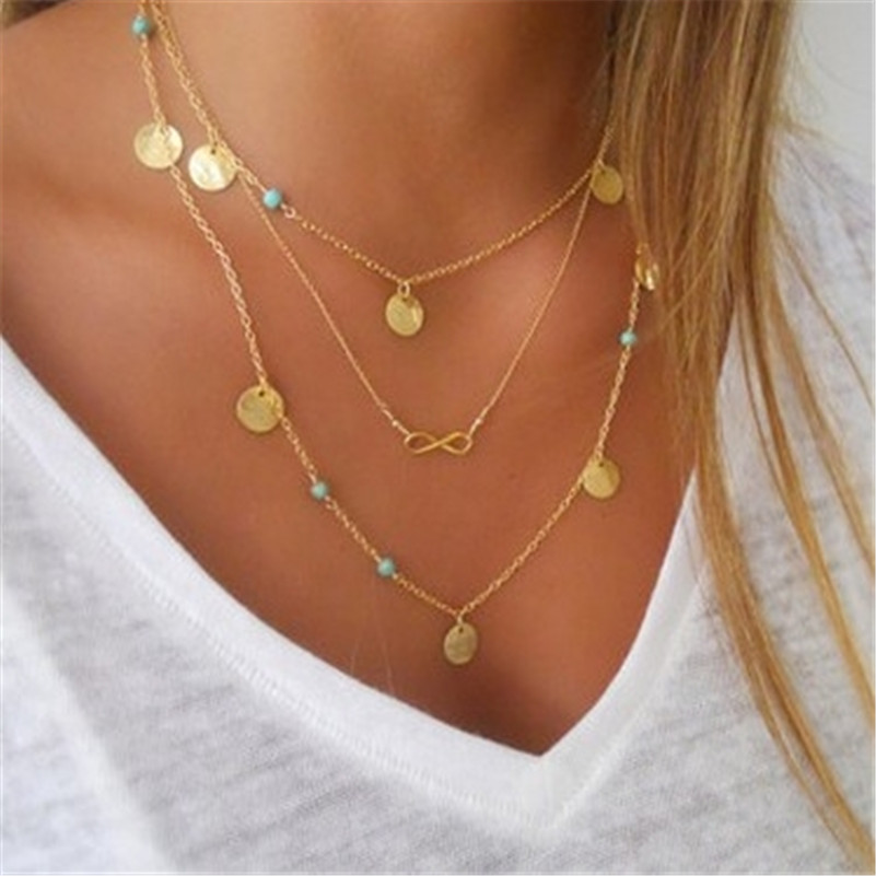 Infinity Symbol Multilayer Necklace Choker Necklace Turquoise Chain Gold Necklace Statement Necklace For Women Jewelry золотые серьги по уху