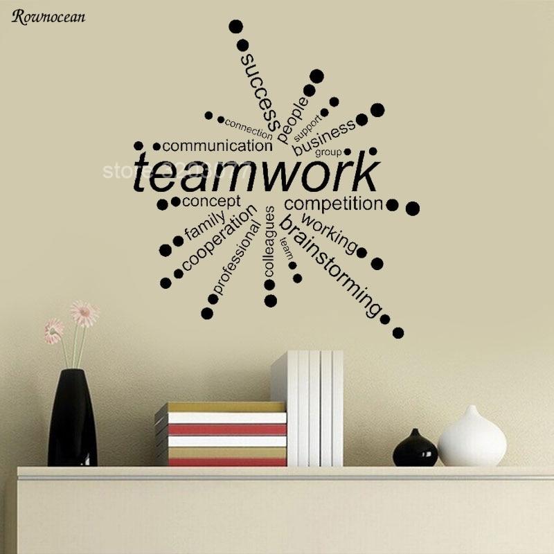 Creative Teamwork Words Design Vinyl Wall Stickers Office Decor Business Radiation Pattern Self Adhesive Wallpaper Mural H555