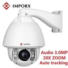 Наруx 3.0MP 1080 P наружная камера наблюдения с датчиком PTZ IP камера с автоматическим отслеживанием аудио 20X цифровой зум сети видеонаблюдения камера с детектором движения