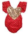 Coração de Lantejoulas Ruffles Roupa Do Bebê recém-nascido Meninas Infantis Roupas de Algodão Romper Sem Encosto Macacão sunsuit