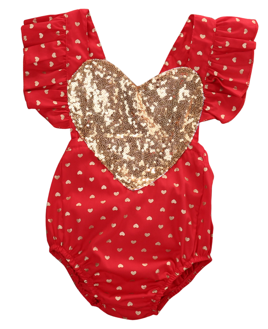 Newborn Infant Baby Girls Sequin Heart Ruffles Outfit Cotton Romper Backless Jumpsuit sunsuit Clothes newborn infant baby girl clothes strap lace floral romper jumpsuit outfit summer cotton backless one pieces outfit baby onesie