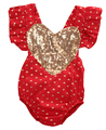 Newborn Infant Baby Girls Sequin Heart Ruffles Outfit Cotton Romper Backless Jumpsuit sunsuit Clothes