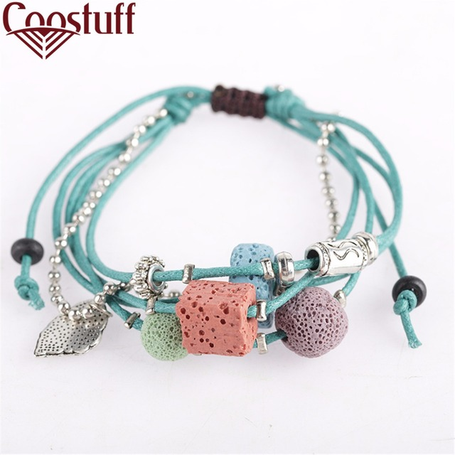 Lava Stone Beads Women Bracelet Hemp Rope Bangles Men Bracelets For Nature