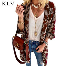 Womens Spring Summer Open Front Kimono Cardigan 3/4 Batwing Sleeves Vintage Floral Print Blouse Jacket Midi Long Slim Outwear purple hooded design open front large pockets long sleeves reversible cardigan