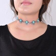 2016 nueva hot boho collar choker collar de plata de la joyería para las mujeres de moda de estilo étnico bohemio cuentas de turquesa estilo etnico