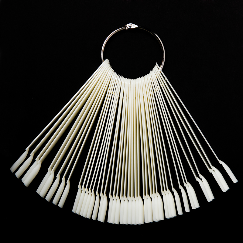 50PCS False Nail Round Hoop Stick Practice for Polish Gel Showing ToolsTransparent/Natural <font><b>Fan</b></font> Board Display Nail Gel Art Tips image