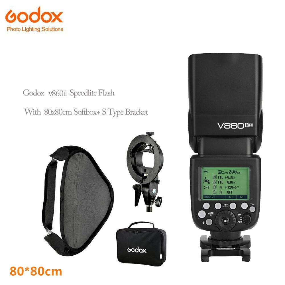 Godox V860ii photographique Speedlite Caméras Flash + S-Type Support Bowen Mount Holder avec 80x80 cm Flash soft Box Kit
