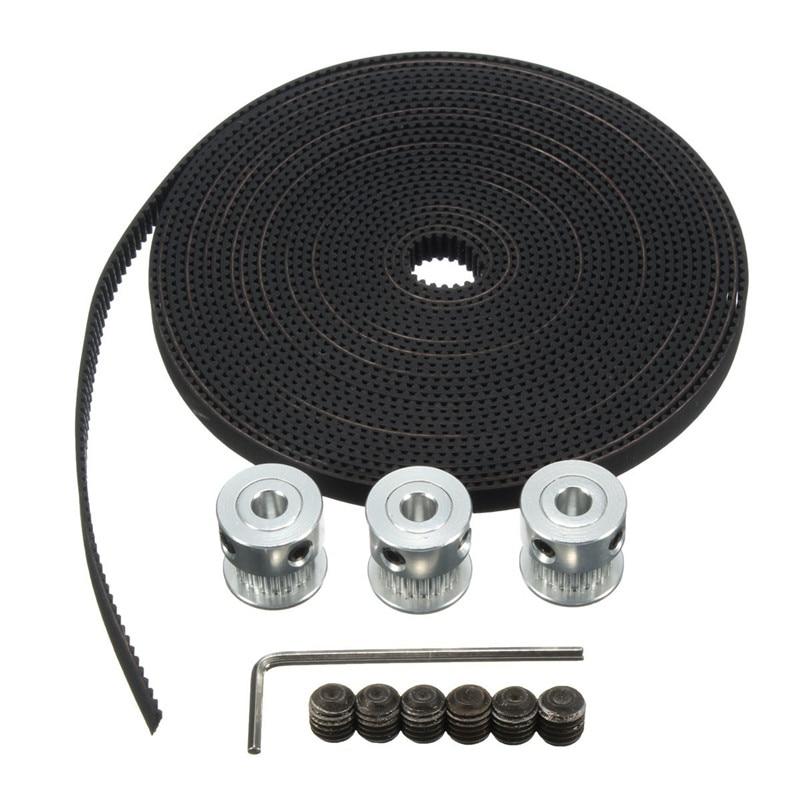 2 x Aluminum GT2 16T Timing Pulley /& 2M Belt RepRap 3D printer Prusa i3 Mendel