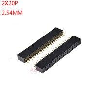 Cabeçote fêmea reto duplo, cabeçote fêmea de 2.54mm, soquete 2*20 20, 10 peças p 20pin 20 pinos para placa pcb