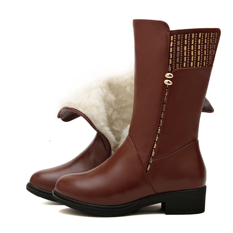 Women Black Knee High Boots Genuine Leather Long Boots 2017 Autumn Winter Ladies Fashion Warm low Heel Work Boots Snow Shoes 2016 new arrive fashion knee high boots for women genuine leather black fashion women boots autumn winter ladies