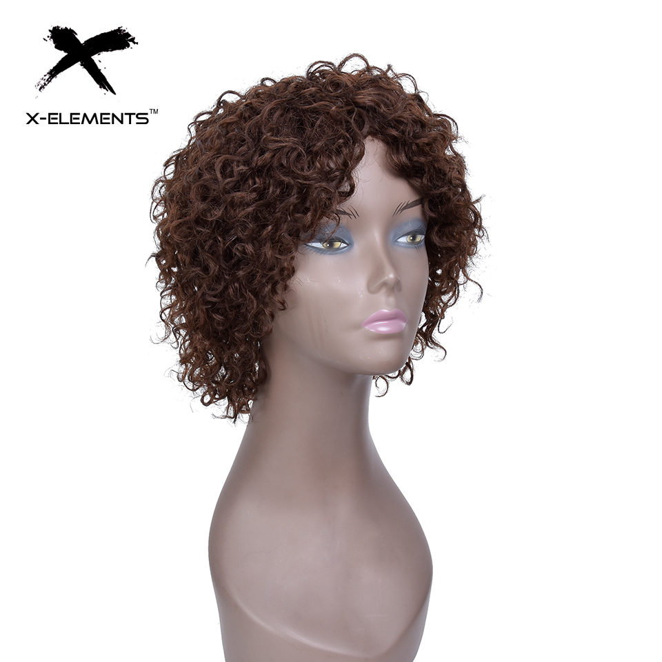 X-Element Brazilian Curly Short Human Hair Wigs with Baby Hair Non-Remy Machine Made Human Hair Wigs For Women H.ORA 6.75 Inches (4)