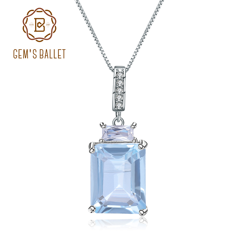 Gem's Ballet 2.94Ct Natural Sky Blue Topaz Fine Jewelry 925 Sterling Silver Classic Gemstone Pendant Necklace For Women