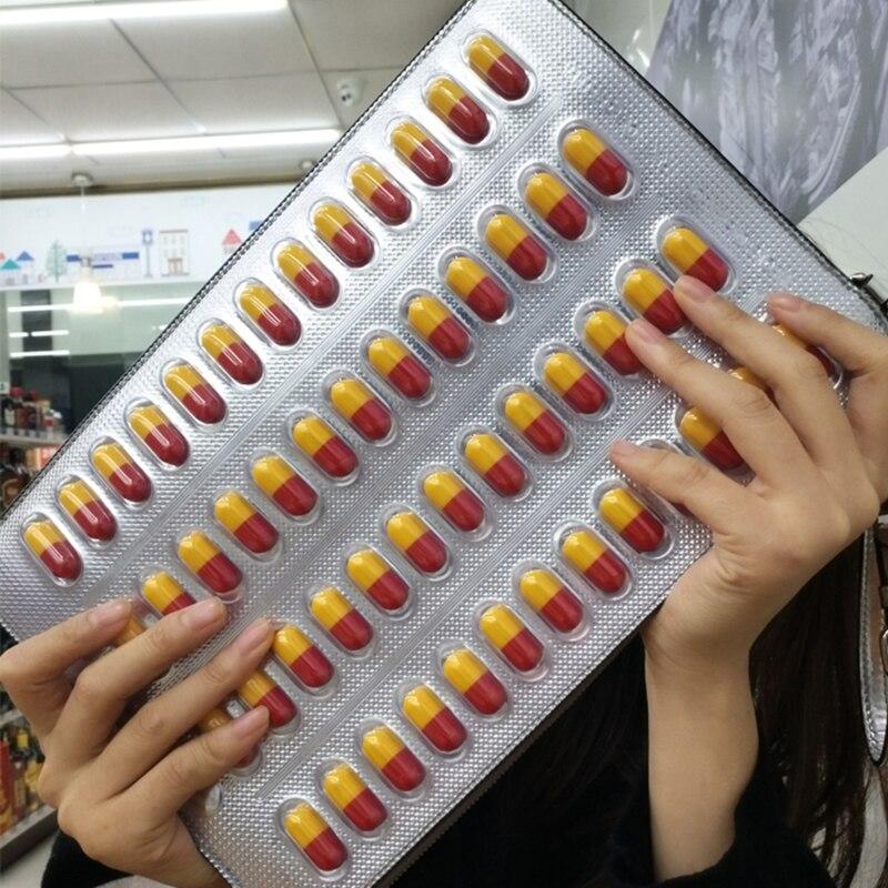 2017 Pills Bag Capsule Bag Messenger Clutch Bag Yellow Red Capsule Pills Particles Oblique Unique Party Handbag Gifts For Women fancy jumping walking pills
