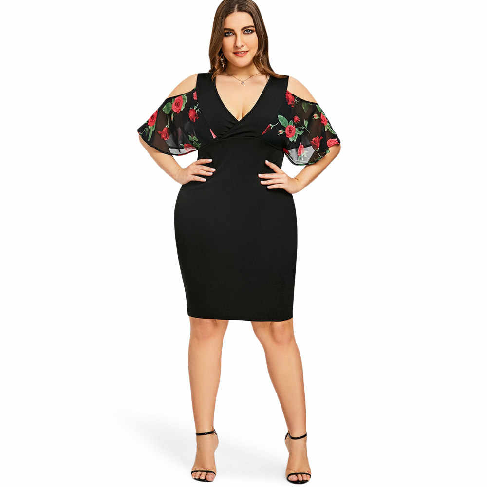 ... Wipalo Women Elegant Party Dress Plus Size 5XL Rose Print Cold Shoulder  Dress 2018 Summer V ... 7205a6baa98a