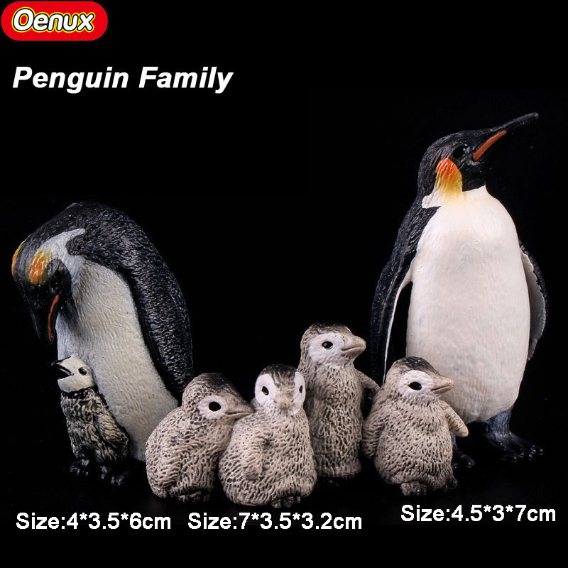 Oenux South Pole Penguin Animal Action Figures Simulation Emperor Penguins Penguin Cub Lifelike Model Toy For Kid Birthday Gift polar marine animal model toy penguin reindeer polar bear blue whale walrus sea l toy model sets pvc figure