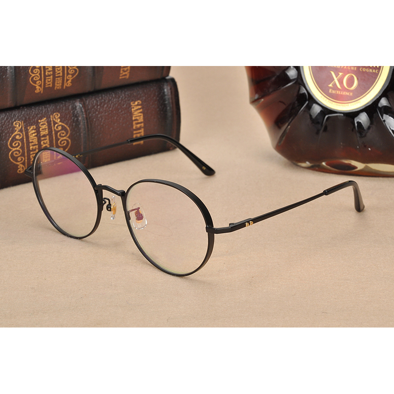 Pure Titanium Glasses Frame Men Round Prescription Eyeglasses Eyewear Vintage Retro Myopia Optical Eye Glasses Women Spectacles-in Men's Eyewear Frames from Apparel Accessories
