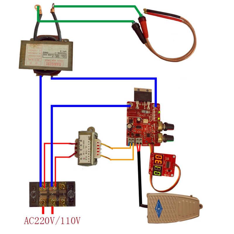 Le parti del pannello del regolatore del trasformatore del saldatore del bordo di controllo della saldatrice a punti 100A/40A del saldatore regola il Display digitale corrente di tempo