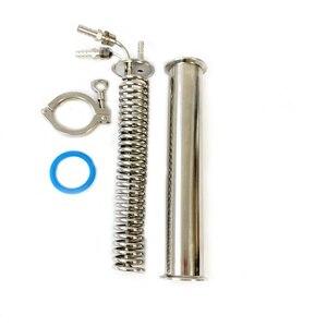 """Image 2 - Klem 2 """"Rvs 304 Condensor, Dephlegmator, Dimroth, Reflux, Distilleerder Condensor. 300mm, OD6mm pijp."""