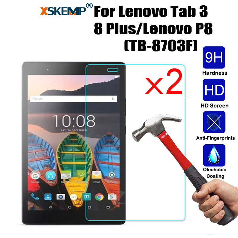 XSKEMP 2Pcs/Lot 9H Hard Tempered Glass For Lenovo Tab 3 8 Plus/Lenovo P8(TB-8703F) Screen Protector Tablet Protective Film Guard xskemp 9h hardness real tempered glass for samsung galaxy tab s2 8 0 t710 t715 0 3mm lcd tablet screen protector protective film