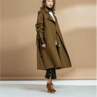 Also Subtle New Design Winter coat women 100% Wool Coat Trench solid LOOSE Warm Women's coat Adjustable Waist Women's clothing