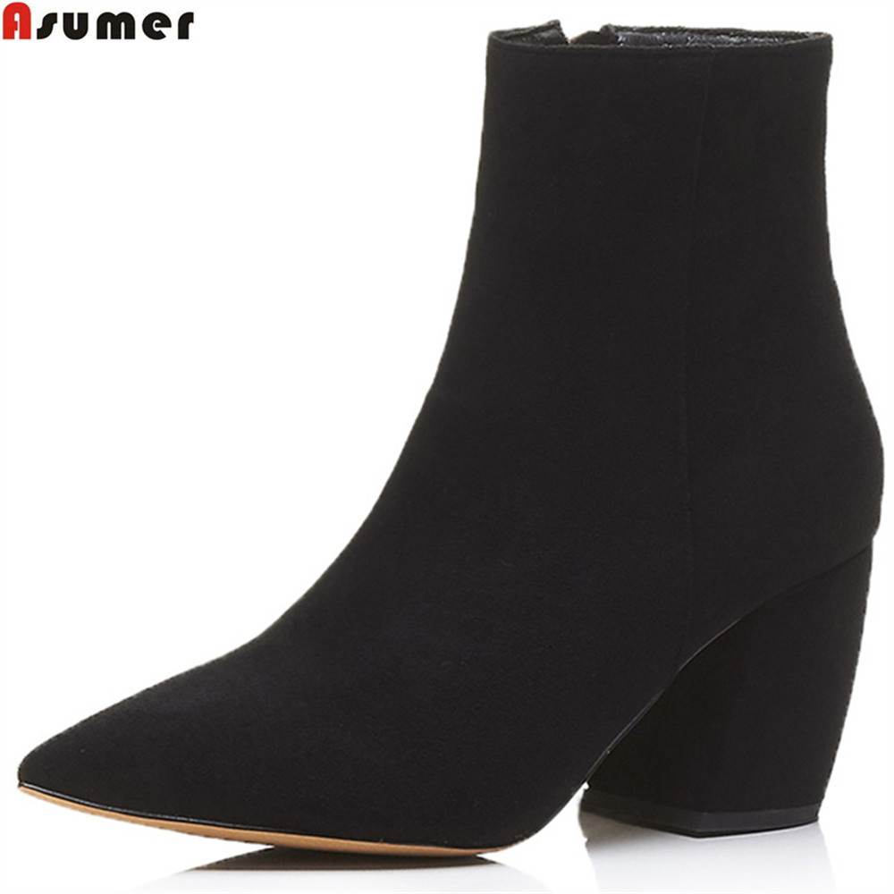 ASUMER fashion spring autumn new arrivel women shoes pointed toe zipper ladies boots flock square heel ankle boots big size nemaone 2018 women ankle boots square high heel pointed toe zipper fashion all match spring and autumn ladies boots