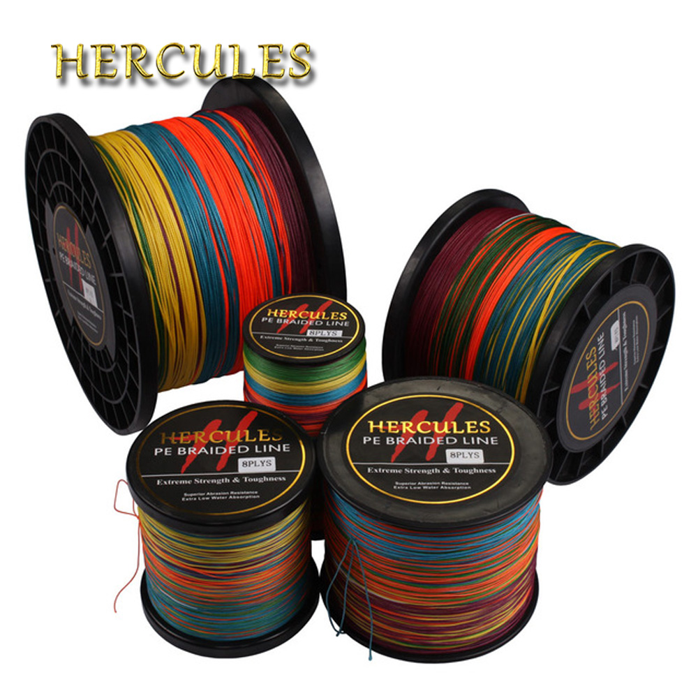 Hercules Braided Fishing Line 8 Strands Multicolor 100M 300M 500M 1000M 1500M 2000M Sea Fishing Cord linha multifilamento 8 fio