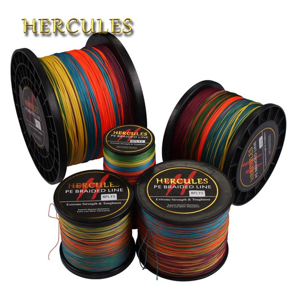 Hercules สายถัก Braided 8 Strands Multicolor 100M 300M 500M 1000M 1500M 2000M Sea ตกปลาสายไฟ Linha multifilamento 8 fio
