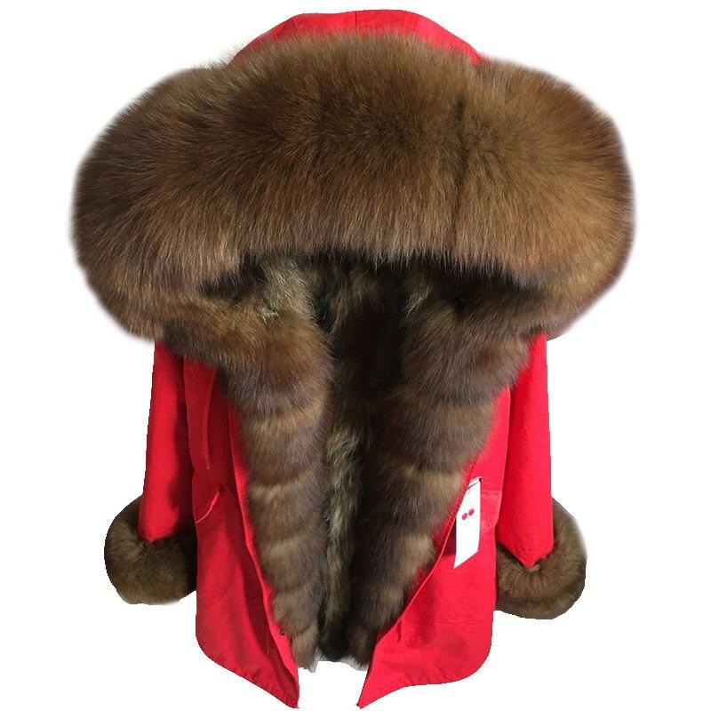 2018 new winter long jacket parkas women fur coat real fox fur collar natural fox fur inside warm thick outwear