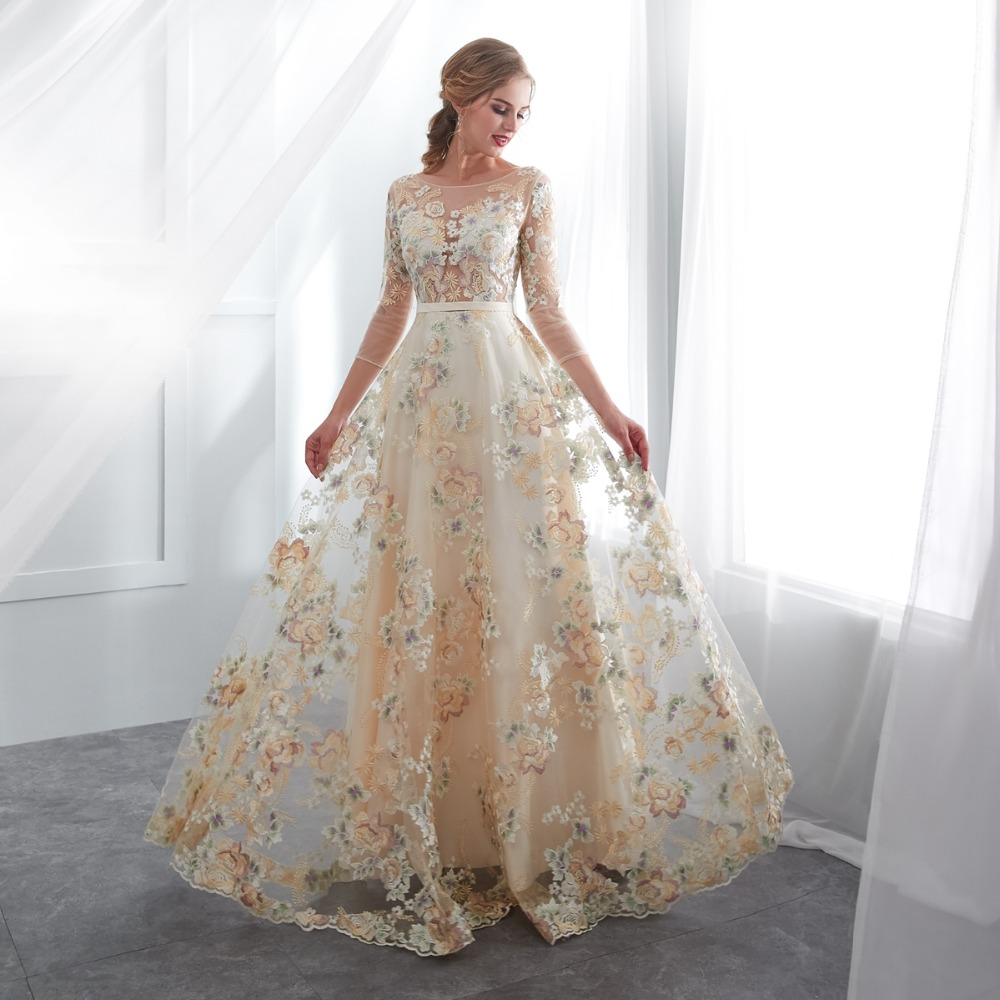 Image 5 - Floral Prom Dresses Walk Beside You Lace 3/4 Sleeves A line Champagne Belt Empire Waist Long Evening Gowns Vestido De Formatura-in Prom Dresses from Weddings & Events