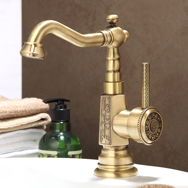 Luxury Artisitic Polished Brass Bathroom Faucet Vessel Basin Faucet Sink  Faucets Mixer Taps Cold Hot Water