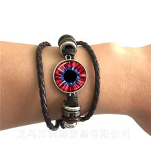 Charming Green Eyes Evil Eye Bracelet Beautiful Animal Dragon Cats Eye 20mm Glass Cabochon Black/Brown Leather Bangle Best Gift(China)