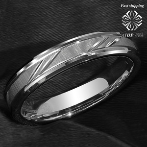 Image 3 - 6mm Tungsten Carbide Ring Silver leaf New Brushed Style Bridal ATOP Jewelry