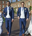 (Jacket+Vest+Pants) Wedding Groom Royal Blue Mens Suit Latest Coat Pant Designs Wedding Suits For Men Costume Homme