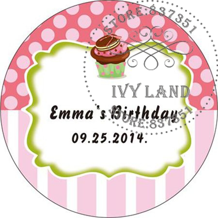 Free Shipping,New Paper,Custom Adhesive Sticker / Label,For Baby Shower / Birthday,Circle 5cm,B19