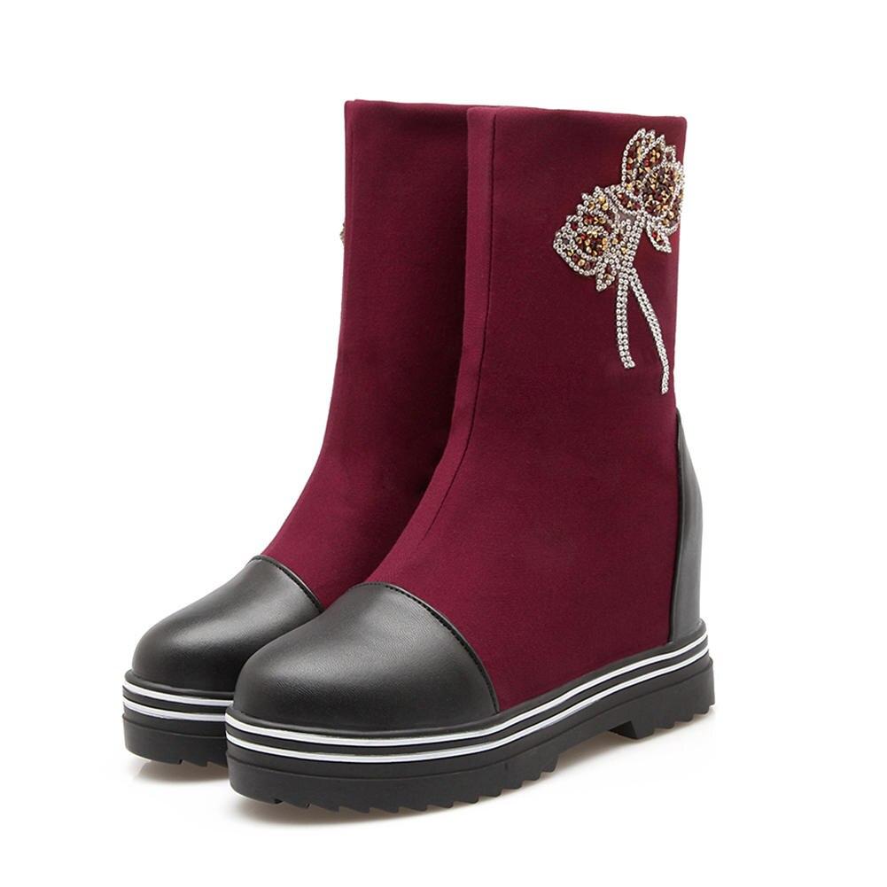 d1ae90bb24e49 Taille forme Femme Spéciale Sarairis Slip Augmentation Talons Plate  Chaussures Élégant Noir Sur Bottes rouge Grande Gros 34 Cheville ...