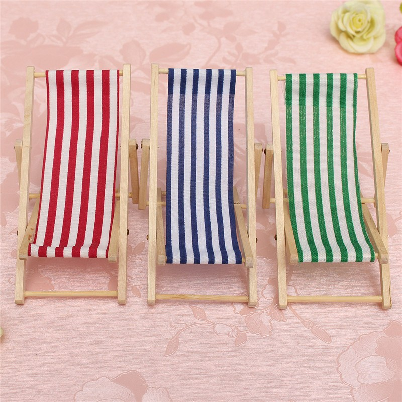 KiWarm Mini Lovely Dolls House 1:12 Scale Miniature Foldable Wooden Deckchair Lounge Chair DIY Ornament Craft Kids Gift
