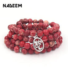 цена Hot Sale Women Men's Bead Bracelet Necklace Trendy 108 Pcs Mala Red Regalite Ohm Charm Bracelet or Necklace Yogi Jewelry Gift в интернет-магазинах