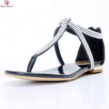 Original Intention Classics Women Sandals Stylish Rhinestone Open Toe Elegant Flat With Cool Black Shoes Woman Plus US Size 4-15